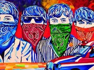 Ícones da cultura pop, como os Beatles, aparecem ao lado de outras referências da história na arte em exposição