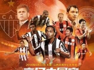 Cartaz do jogo contra o Guizhou Renhe tem Autuori, ex-técnico, e Jô, que nem viaja