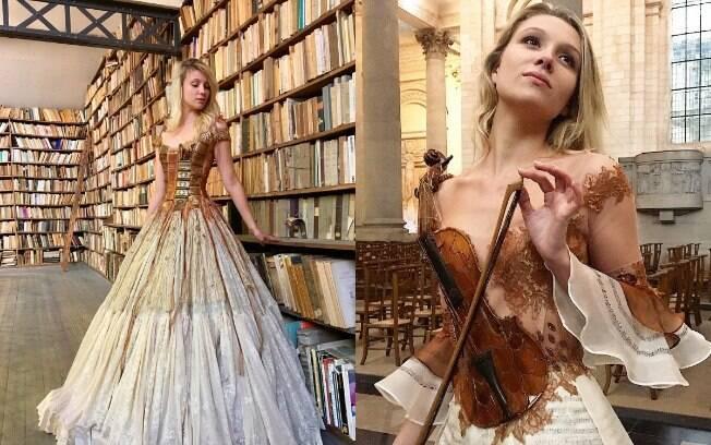 A designer Sylvie Facon impressionou no Instagram com a criação de uma coleção de vestidos feitos de objetivos comuns