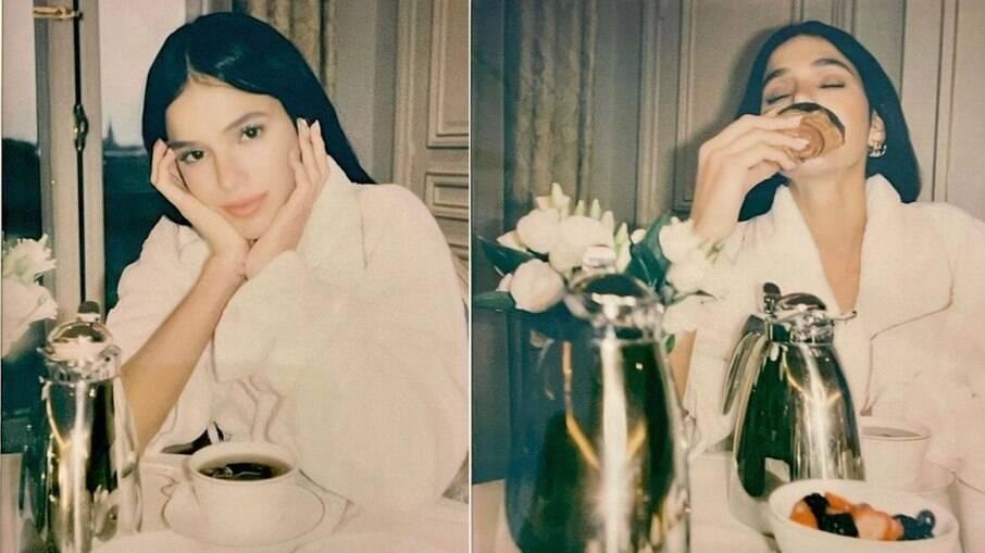 Bruna Marquezine toma café em hotel luxuoso
