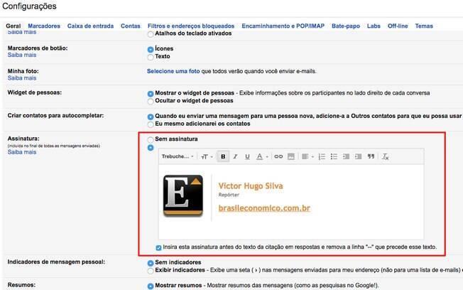 Campo de texto permite alterar, rapidamente, as informações que serão exibidas em sua assinatura do Gmail