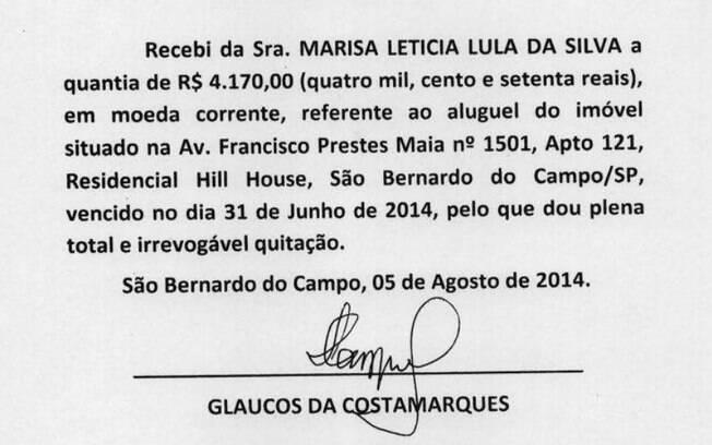 Recibos apresentados pela defesa do ex-presidente Lula levantaram suspeitas do MPF