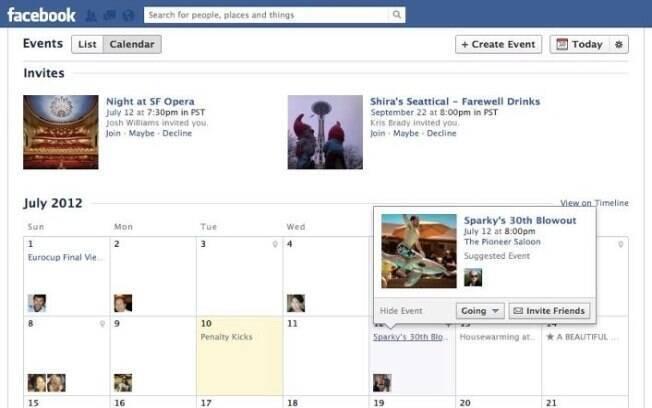 Página de eventos do Facebook mostra aniversários e festas em um novo calendário