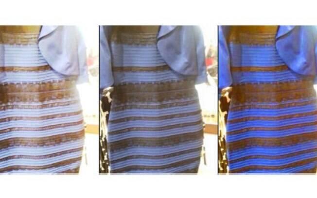 Manipulação em computador intensifica cores e deixa claro que o vestido é azul