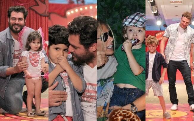 Famosos com crianças em desfiles de moda no Rio e em São Paulo