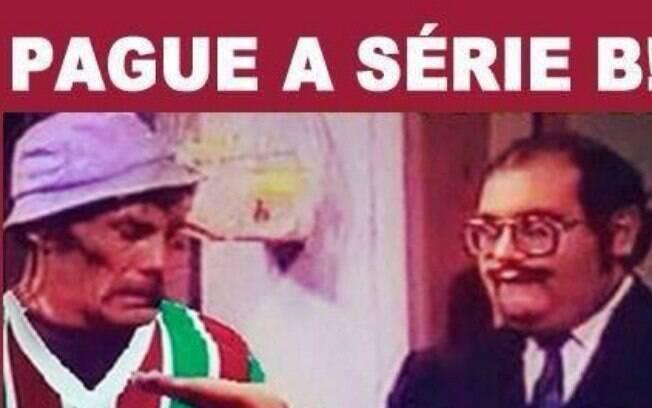 Até o patrocinador do Fluminense entrou na brincadeira. Foto  Reprodução.  Piadas com rebaixamento do Fluminense à Série B do Campeonato Brasileiro. 061bab3d99c82