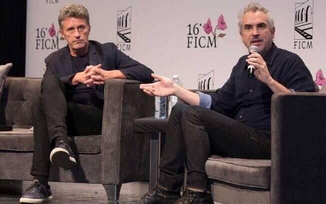 Pawel Pawlikowski e Alfonso Cuarón em evento promovido pela Academia de Artes e Ciências Cinematográficas de Hollywood