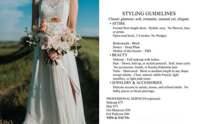 Noiva manda lista com o que convidados podem e não podem usar no casamento