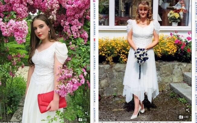 Grace, de 18 anos, fez sucesso em seu baile de formatura ao usar o vestido de noiva da mãe para celebrar