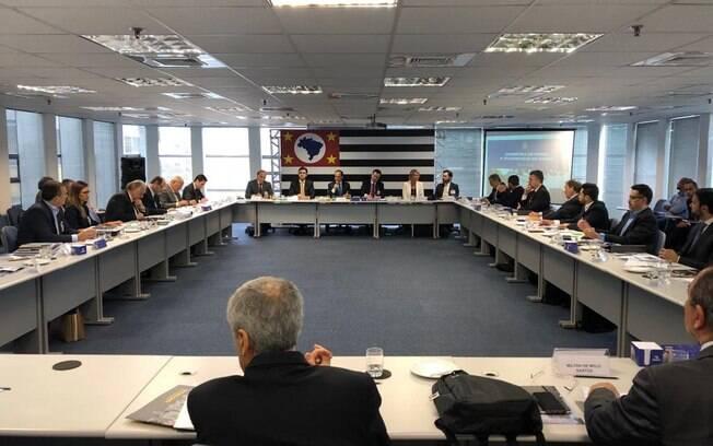 Registro da primeira reunião do secretariado do governador eleito em São Paulo, João Doria