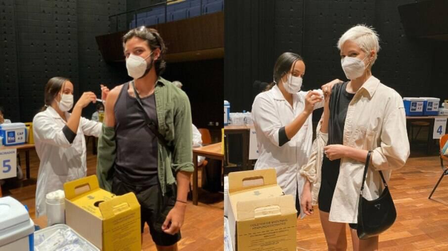 Rodrigo Simas e Agatha Moreira recebem segunda dose da vacina contra a Covid-19