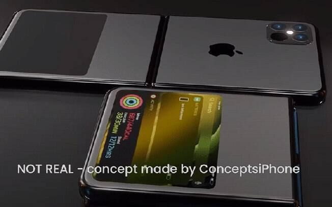 Imagem criada por site para dar vida ao possível iPhone dobrável