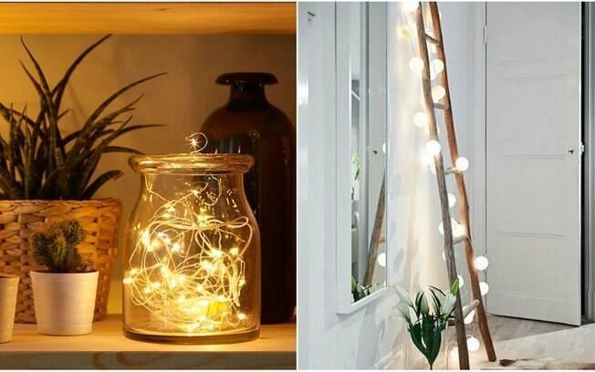 Outra forma de ter uma iluminação mais fraca e relaxante no cantinho zen é usar as versáteis luzes de Natal