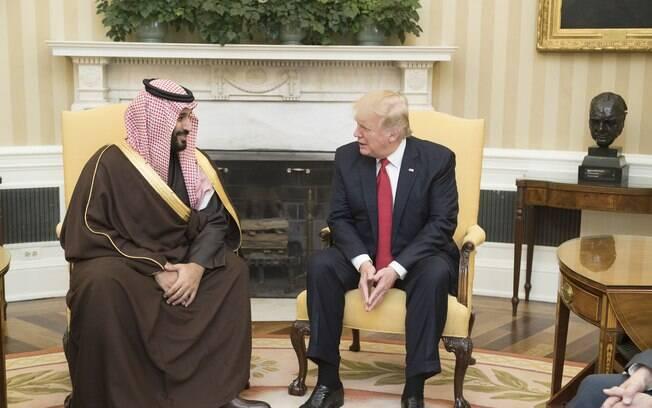 Príncipe herdeiro da Arábia Saudita%2C Mohammad bin Salman%2C e o presidente dos EUA%2C Donald Trump