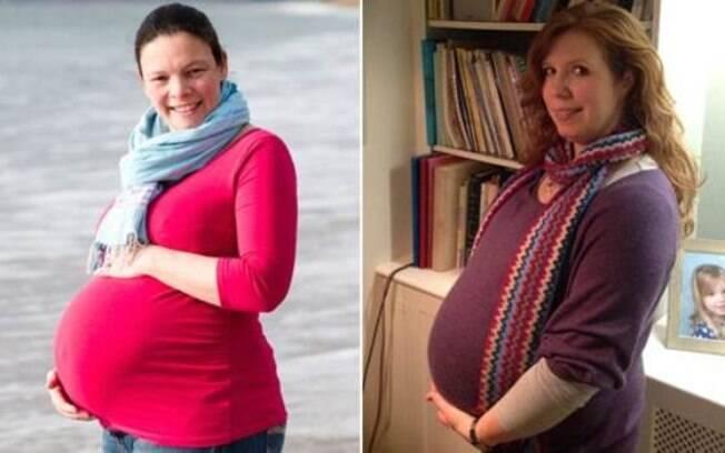 Penelope (esq.) e Eleanor têm a mesma data prevista para o parto, mas a chance de isso acontecer é de uma em 500