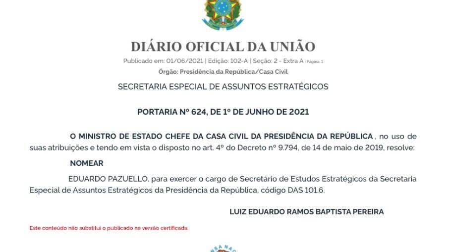 Publicação do Diário Oficial da União