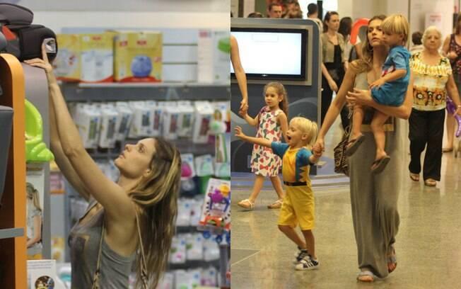 A atriz e apresentadora Fernanda Lima levou seus filhos gêmeos às compras