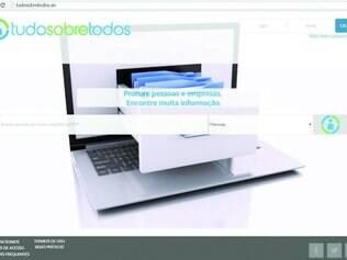 Vida exposta.  Reprodução da capa do site que vende informações pessoais detalhadas