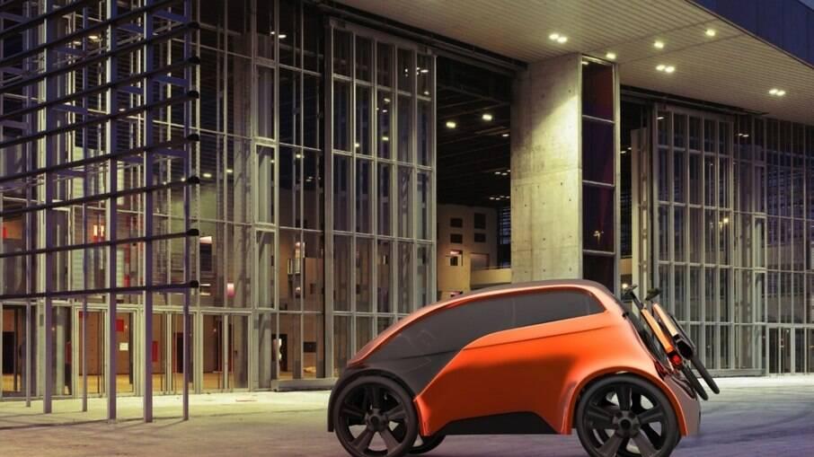Volkswagen Go2, o subcompacto elétrico que leva uma bicicleta na traseira