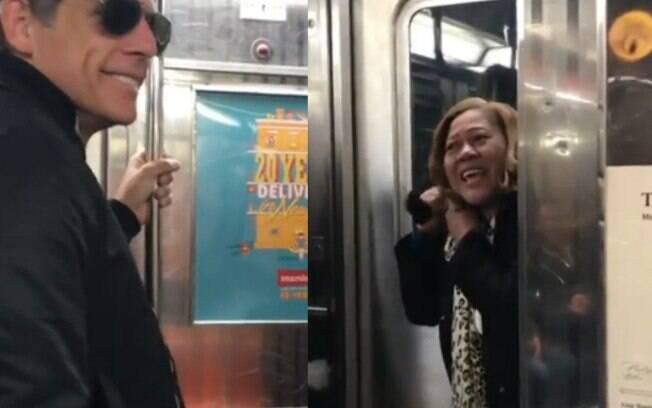 Mulher enlouquece depois de Ben Stiller oferecer seu assento no metrô