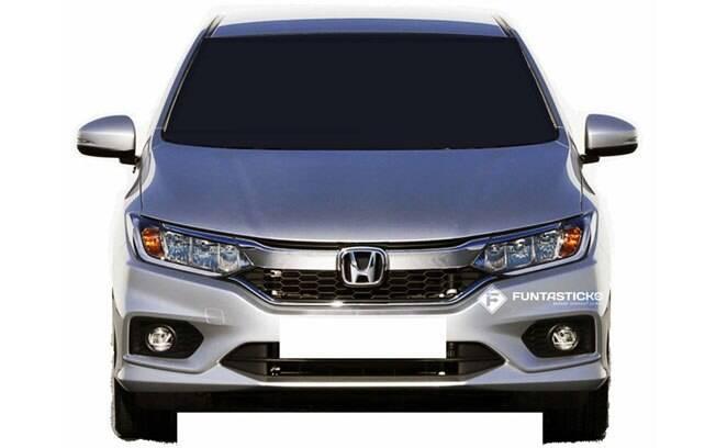 Imagem mais limpa do Honda City reestilizado, mostrando a nova grade frontal e os faróis com luzes diurnas de LED.