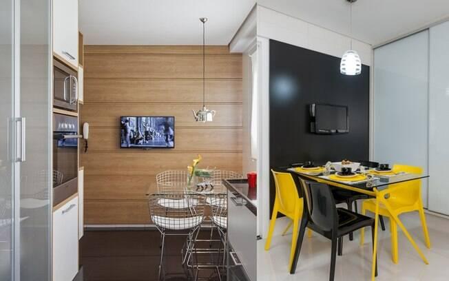 Televisores na cozinha? Sim! O item pode ser usado em vários espaços da decoração, inclusive para ajudar a cozinhar