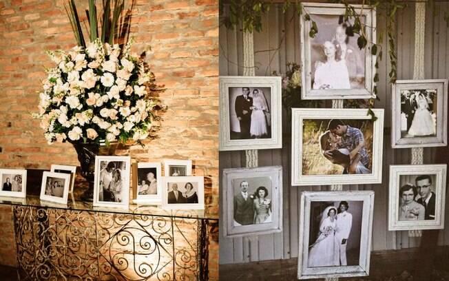 Fotos escolhidas para a decoração da festa de casamento podem fazer uma retrospectiva da história dos noivos