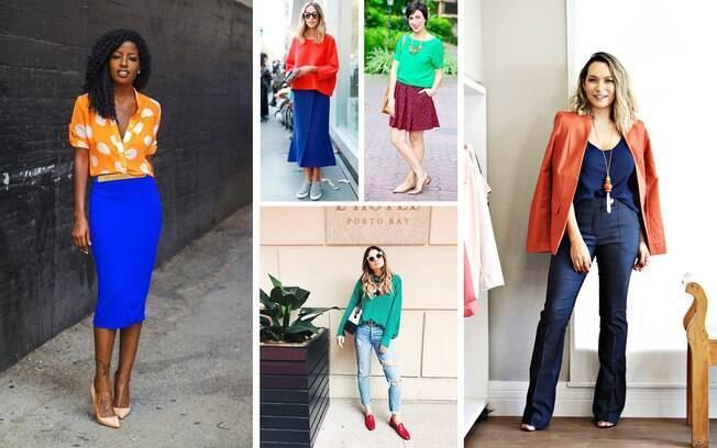 Para conquistar um look criativo é só combinar cores complementares.