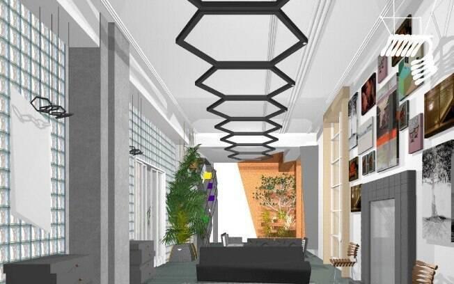 O arquiteto ainda investe no estilo contemporâneo ao instalar formas geométricas no teto