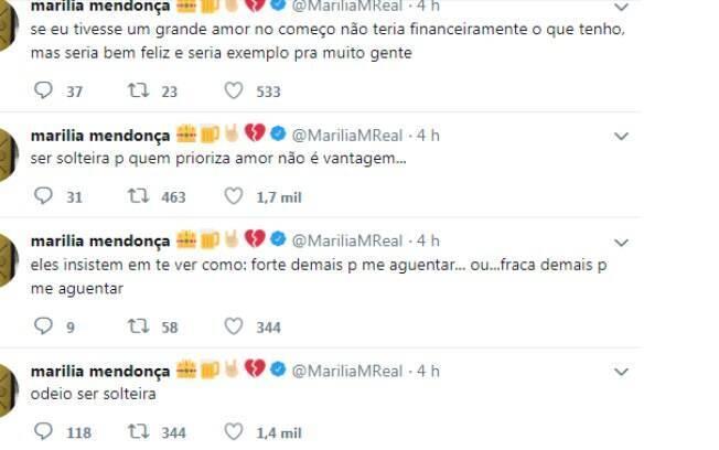 Marília Mendonça faz desabafo no Twitter sobre sua fase de solteira e tranquiliza seus amados fãs