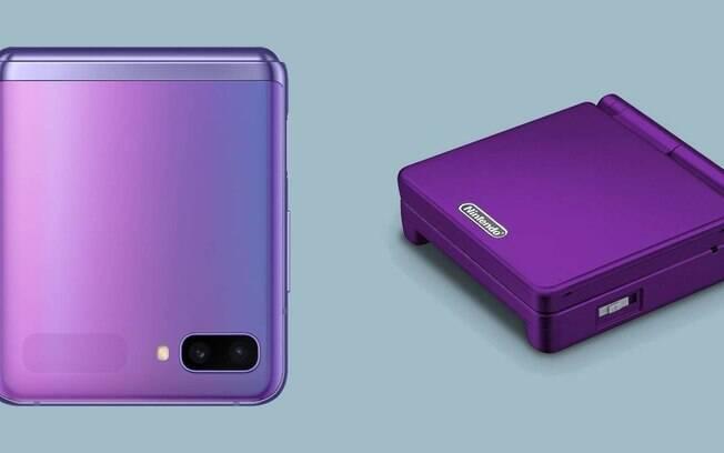 Comparação entre o Samsung Galaxy Z Flip e o Gameboy Advance SP. As imagens não estão em escala.