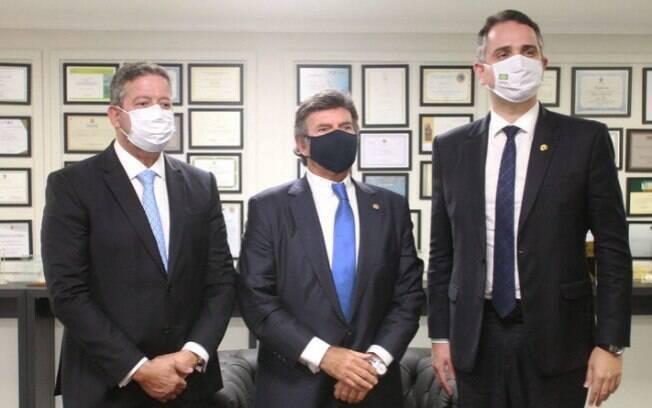 Arthur Lira, presidente da Câmara dos Deputados, Luiz Fux, ministro do STF, e Rodrigo Pacheco, presidente do Senado Federal