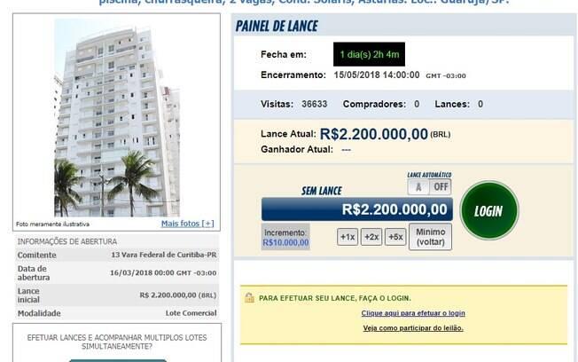 Site receberá propostas de compra ao imóvel atribuído ao ex-presidente Lula até 14h desta terça-feira (15)