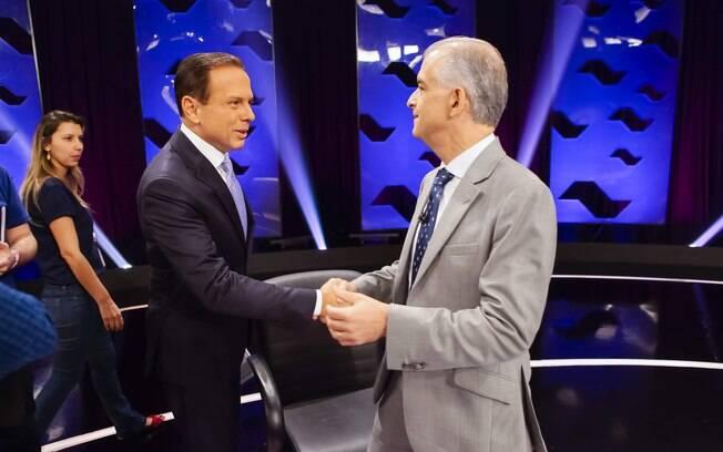 Candidatos João Doria (PSDB) e Márcio França (PSB) participam de debate do SBT em São Paulo para o governo do Estado