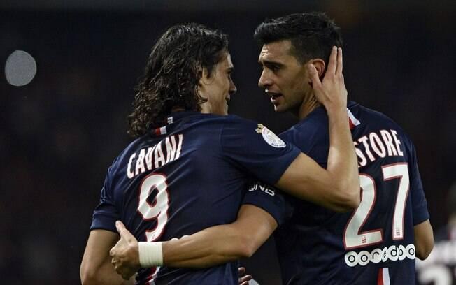 Edinson Cavani e Javier Pastore ainda não voltaram aos trabalhos com o Paris Saint-Germain