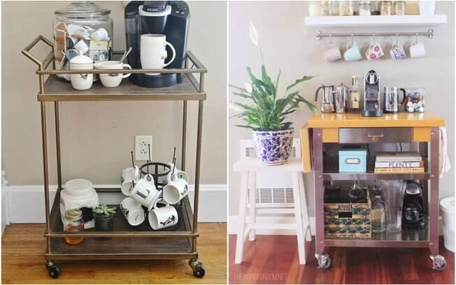 Seja no cômodo que for, usar um carrinho para criar o cantinho do café torna tudo muito mais prático