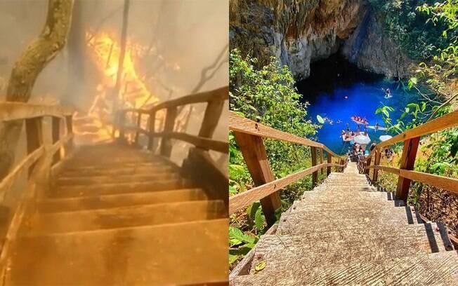 Fogo destrói escadaria e vegetação da Dolina Água Milagrosa