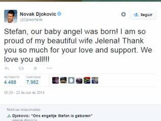 Djoko agradeceu aos fãs o apoio pelo nascimento de Stéfan