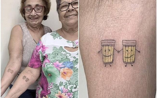 Therezinha Souza e Ilda Quintana sã amigas há mais de 30 anos e fizeram uma tatuagem para celebrar a amizade