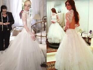 Marina Ruy Barbosa usa vestido de Letícia Bronstein para gravar cenas do casamento de Nicole