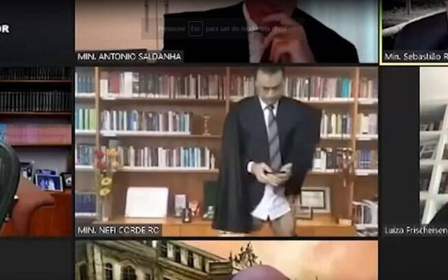 Néfi Cordeiro, Ministro do STJ é flagrado sem calça durante sessão
