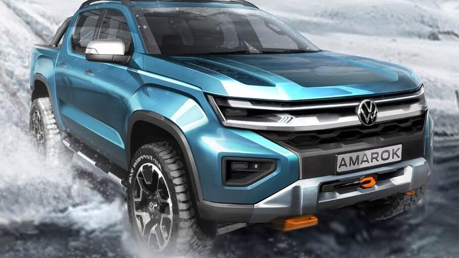 Esboço oficial da Volkswagen revela o visual da próxima geração da Amarok