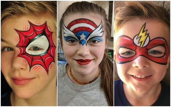 Maquiagem para crianças: super-heróis e super-heroínas são uma boa pedida para fantasiar os pequenos para a folia