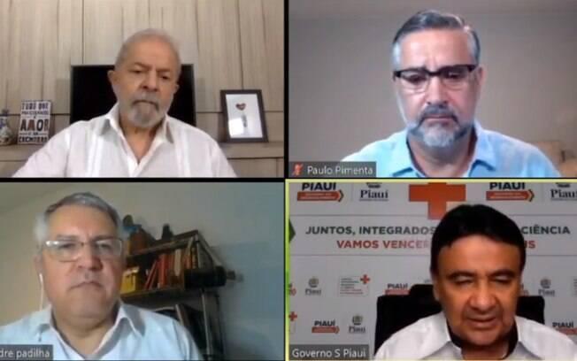 Lula com Paulo Pimenta, Wellington Dias e Alexandre Padilha