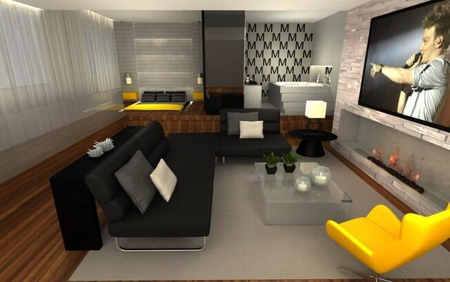 Com design clean, Simone priorizou tons neutros e usou o amarelo para não deixar o ambiente monocromático