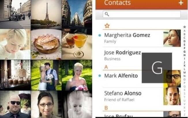 Galeria de fotos e agenda de contatos do Firefox OS