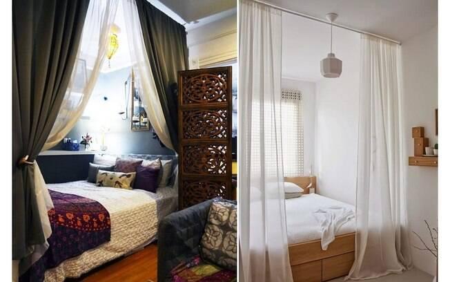 Cortinas são uma boa forma de criar uma divisão delicada e harmônica entre um cômodo e o resto do apartamento
