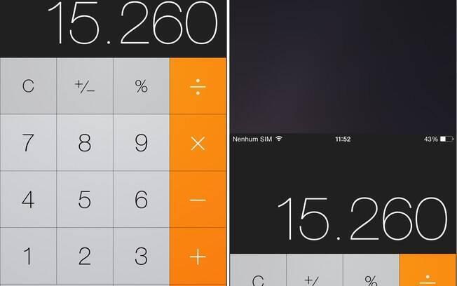 Aplicativo da calculadora em modo normal (esq.) e Reachability, modo para uso com uma só mão