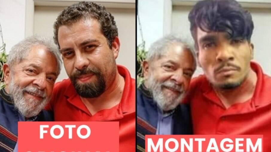 Imagem original retrata ex-presidente ao lado de Guilherme Boulos