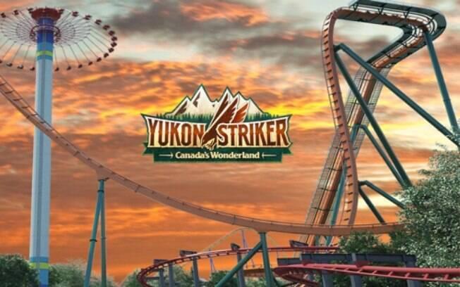 A montanha-russa Yukon Striker é a mais rápida, mais longa e mais alta do seu tipo no mundo, chegando a 130 km/h
